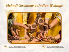 Mehndi Ceremony At Indian Wedings Ppt PowerPoint Presentation File Background Image PDF