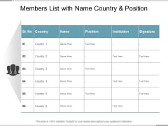 Members List With Name Country And Position Ppt Powerpoint Presentation Slides Images