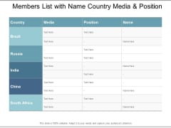 Members List With Name Country Media And Position Ppt Powerpoint Presentation Outline Influencers