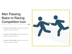 Men Passing Baton In Racing Competition Icon Ppt PowerPoint Presentation File Outline PDF