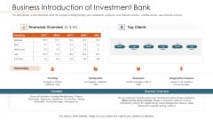 Merger Agreement Pitch Deck Business Introduction Of Investment Bank Template PDF