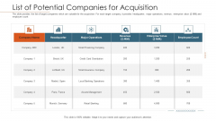 Merger Agreement Pitch Deck List Of Potential Companies For Acquisition Professional PDF