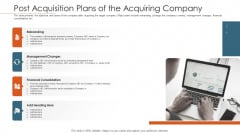 Merger Agreement Pitch Deck Post Acquisition Plans Of The Acquiring Company Graphics PDF