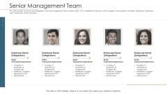 Merger Agreement Pitch Deck Senior Management Team Brochure PDF