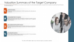Merger Agreement Pitch Deck Valuation Summary Of The Target Company Ideas PDF