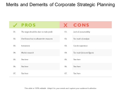Merits And Demerits Of Corporate Strategic Planning Ppt PowerPoint Presentation Pictures Structure