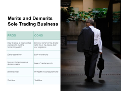 Merits And Demerits Sole Trading Business Ppt PowerPoint Presentation Icon Smartart