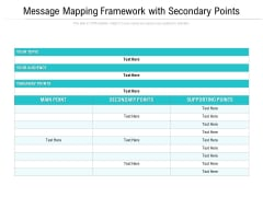 Message Mapping Framework With Secondary Points Ppt PowerPoint Presentation File Professional PDF