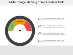 Meter Gauge Showing Three Levels Of Risk Ppt PowerPoint Presentation Pictures Graphics