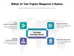 Methods For Team Progress Management In Business Ppt PowerPoint Presentation Gallery Templates PDF