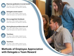 Methods Of Employee Appreciation With Delegate A Team Reward Ppt PowerPoint Presentation File Gridlines PDF