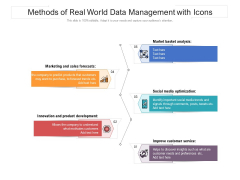 Methods Of Real World Data Management With Icons Ppt PowerPoint Presentation Icon Diagrams PDF