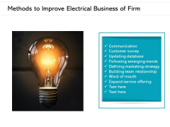 Methods To Improve Electrical Business Of Firm Ppt PowerPoint Presentation Gallery Guide PDF