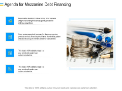 Mezzanine Debt Financing Pitch Deck Agenda For Mezzanine Debt Financing Summary PDF
