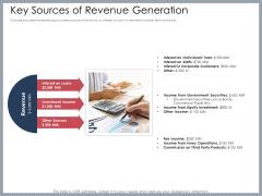 Mezzanine Venture Capital Funding Pitch Deck Key Sources Of Revenue Generation Clipart PDF