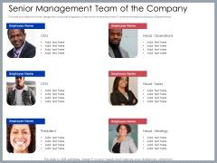 Mezzanine Venture Capital Funding Pitch Deck Senior Management Team Of The Company Clipart PDF
