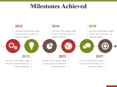 Milestones Achieved Template 2 Ppt PowerPoint Presentation Ideas Influencers