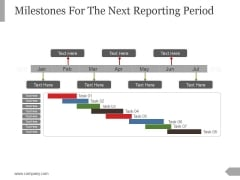 Milestones For The Next Reporting Period Template 3 Ppt PowerPoint Presentation Design Ideas