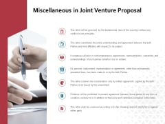 Miscellaneous In Joint Venture Proposal Ppt PowerPoint Presentation Layouts Layout