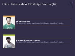 Mobile App Development Client Testimonials For Proposal Adapt Professional PDF