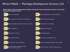 Mobile App Development Iphone Mobile Ipad Apps Development Services Structure PDF