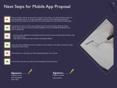 Mobile App Development Next Steps For Proposal Ppt Gallery Ideas PDF