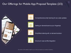 Mobile App Development Our Offerings For Proposal Template Slides PDF