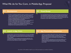 Mobile App Development What We Do For You Cont In Proposal For Pictures PDF