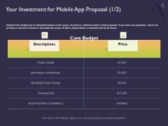 Mobile App Development Your Investment For Proposal Designs PDF