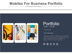 Mobile Graphics For Financial Portfolio Powerpoint Template