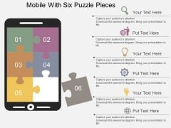Mobile With Six Puzzle Pieces Powerpoint Template