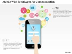 Mobile With Social Apps For Communication Powerpoint Template