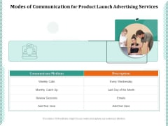 Modes Of Communication For Product Launch Advertising Services Ppt PowerPoint Presentation File Pictures PDF