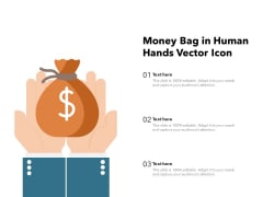 Money Bag In Human Hands Vector Icon Ppt PowerPoint Presentation File Template PDF