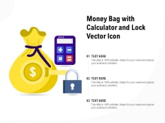Money Bag With Calculator And Lock Vector Icon Ppt PowerPoint Presentation Show Icons