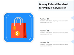 Money Refund Received For Product Return Icon Ppt PowerPoint Presentation File Demonstration PDF