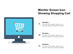 Monitor Screen Icon Showing Shopping Cart Ppt PowerPoint Presentation Portfolio Designs Download PDF