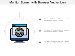 Monitor Screen With Browser Vector Icon Ppt Powerpoint Presentation Infographic Template Example Introduction