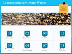 Monitoring And Evaluating Water Quality Characteristics Of Ground Waters Ppt PowerPoint Presentation File Designs Download PDF