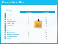 Monitoring And Evaluating Water Quality Common Water Uses Ppt PowerPoint Presentation Ideas File Formats PDF