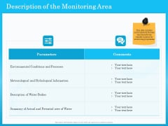 Monitoring And Evaluating Water Quality Description Of The Monitoring Area Ppt PowerPoint Presentation Infographics Structure PDF