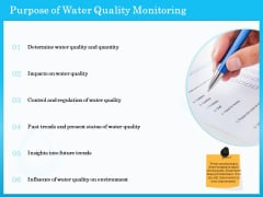 Monitoring And Evaluating Water Quality Purpose Of Water Quality Monitoring Ppt Gallery Clipart Images PDF