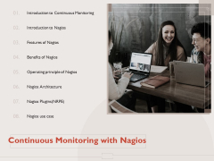 Monitoring Computer Software Application Continuous Monitoring With Nagios Ppt PowerPoint Presentation Summary Information PDF