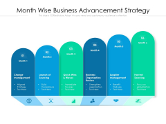 Month Wise Business Advancement Strategy Ppt PowerPoint Presentation Ideas Gridlines PDF