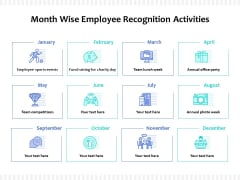 Month Wise Employee Recognition Activities Ppt PowerPoint Presentation Professional Shapes