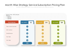 Month Wise Strategy Service Subscription Pricing Plan Ppt PowerPoint Presentation Styles Layout PDF