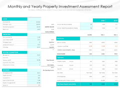 Monthly And Yearly Property Investment Assessment Report Ppt PowerPoint Presentation Infographics Icons PDF