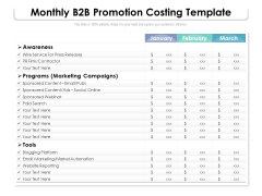 Monthly B2B Promotion Costing Template Ppt PowerPoint Presentation Infographic Template Aids PDF