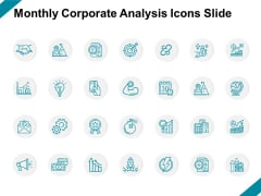 Monthly Corporate Analysis Icons Slide Arrows Ppt PowerPoint Presentation Layouts Display