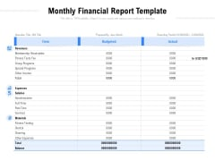 Monthly Financial Report Template Ppt PowerPoint Presentation Show Brochure PDF